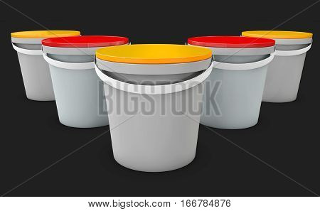 3d Illustration of plastic buckets. Product Packaging For food, foodstuff or paints, isolated black