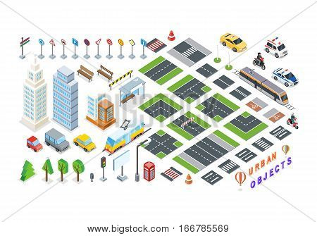 Isometric part of the city infrastructure. Isometric town, street modern, real structure, architecture exterior. 3d elements for map - road, city transport, house, auto, crossroad, tree buildings