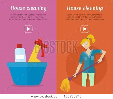 Set of cleaning service web banners. Flat style. House cleaning vector concepts with woman, mop, household chemicals. Illustration with play button for housekeeping online services, video, animation
