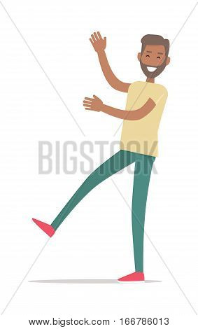Man standing on one leg isolated on white. Smiling man with hands up shopping. Flat design. Male with beard character in t-shirt and trousers. Pleasure of purchase. For sales and discounts. Vector