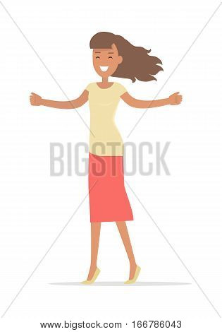 Woman shopping isolated on white. Lady with opened arms smiling. Flat design. Brunet girl character in t-shirt and pink skirt. Pleasure of purchase. For sales and discounts. Vector illustration