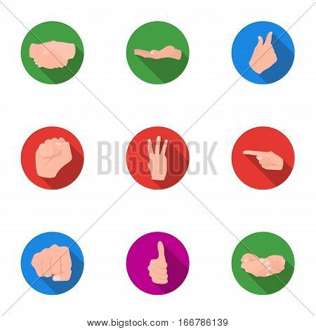Hand gestures set icons in flat style. Big collection of hand gestures vector symbol stock