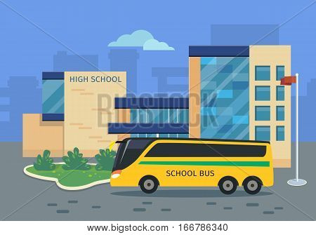 High school building with yellow bus vector illustration. Flat design. Public educational institution. Modern projects of educational establishments. School facade and yard. Front view. College