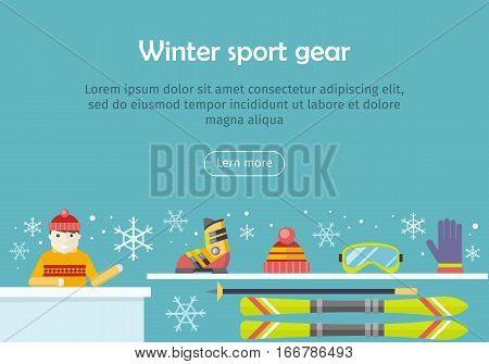 Winter sport gear vector web banner. Flat design. Man in warm clothes seating at the table and offers equipment for skiing. For mountain resort, sportswear rental, selling company landing page design