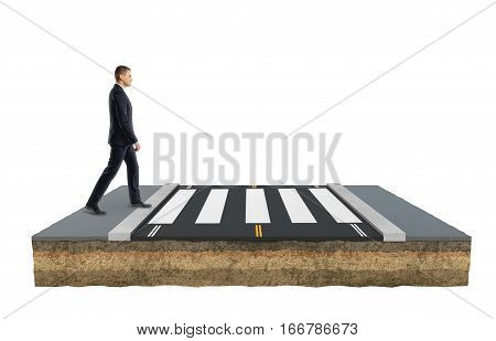 Businessman is crossing a road on footpath moving forward on white background. Business managemant. Goals and aspirations. Solution