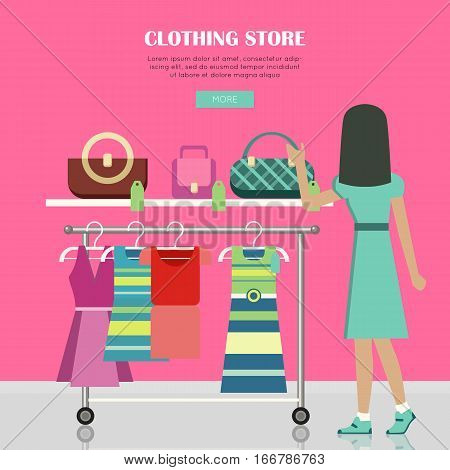 Clothing store. Set of women clothes items. Editable elements of ladies clothing. New summer collection. Sale. Dresses and accessories. Shopping center. Fashionable apparel. Vector illustration