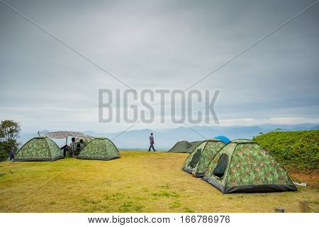 Maehongson, Thailand - JAN 02, 2017: Camping tent on the mountain at Yun-Lai Viewpoint in Pai, Thailand