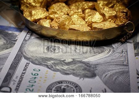 mound gold and dollar bills finance concept