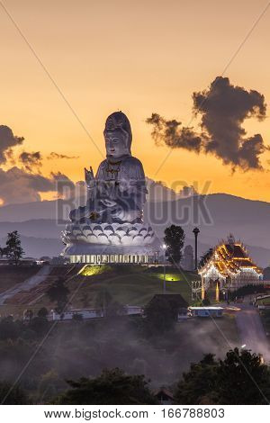 Guanyin statue at Wat Huay Pla Kang Chinese temple in Chiang Rai Province Thailand