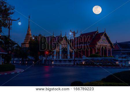 Wat Phra That Chang Kham Worawihan In Night Time.
