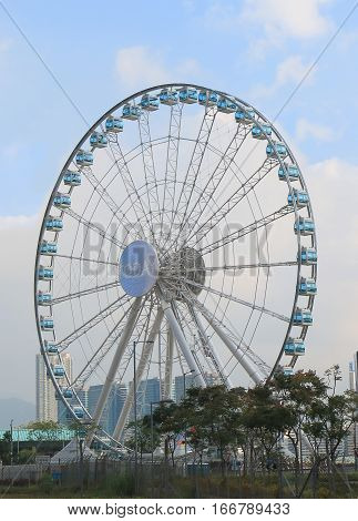 HONG KONG - NOVEMBER 8, 2016: ong Kong Observation wheel. Hong Kong Observation wheel is a 60-metre tall Ferris wheel located on the Central overlooking Victoria harbour.