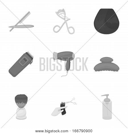 Hairdresser set icons in monochrome style. Big collection of hairdresser vector symbol stock