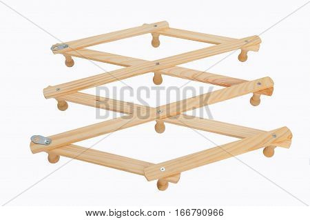 Hanging Device for Clothes made of wood. Placed on the white background
