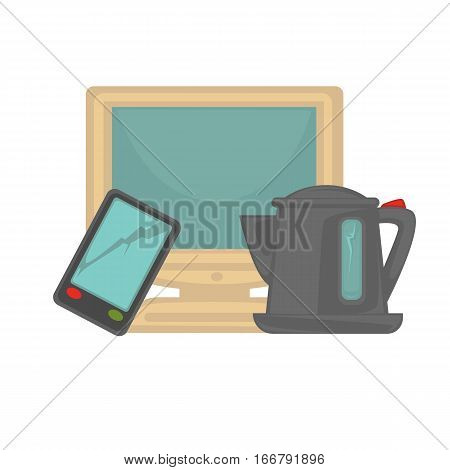 Vector symbol of electronic garbage or recycle sign. Trash icon monitor, mobile and kettle. Illustration of e-waste categories, garbage recycling. Cartoon design element for pollution and ecology.
