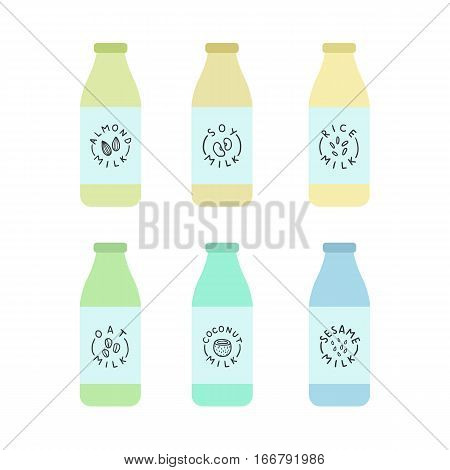 Bottles with plant based milk. Soy and almond, cashew, soy, sesame, oat. Vector hand drawn illustration