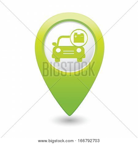 Car service. Car with accumulator icon on green map pointer.