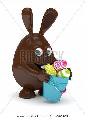 3D Rendering Of Easter Chocolate Bunny With Painted Eggs