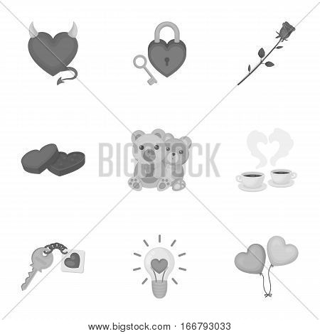 Romantic set icons in monochrome style. Big collection of romantic vector symbol stock