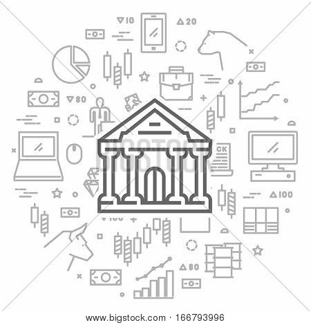 Vector line concept for commodity exchange. Round banner of stock market.