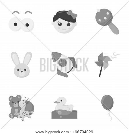 Toys set icons in monochrome style. Big collection of toys vector symbol stock