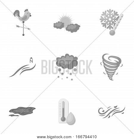 Weather set icons in monochrome style. Big collection of weather vector symbol stock