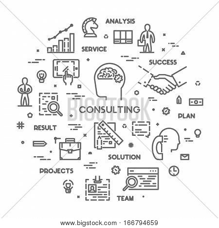 Round line concept for consulting. Vector linear symbol for business consultation. Open path.