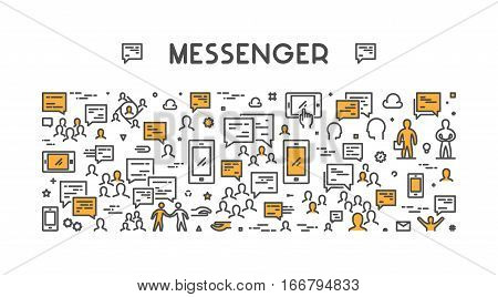 Vector line web concept for messenger. Modern linear banner.