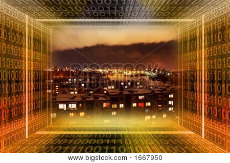 Digital City. Binary Tunnel And City At Night