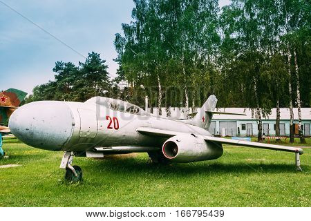 Old Russian Soviet Supersonic Military Plane Aircraft Fighter-bomber Stands At Aerodrome
