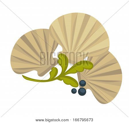 Icon of oysters. Sea food symbol shellfish of ocean, marine mollusk. Delicious ingredient of seafood for dinner in restaurant. Vector illustration isolated on white. Design element in cartoon style