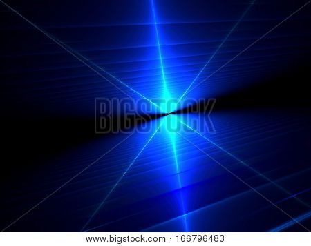 Rays burst - abstract computer-generated image. Fractal technology background: textured surface with perspective and light effects. For banners, covers, web design.