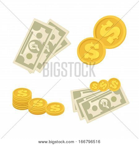 Set of cash paper money and coins. Symbol of dollars, banking currency, investment, payment or wealth. Vector business finance signs. Collection of flat icons isolated on white background.