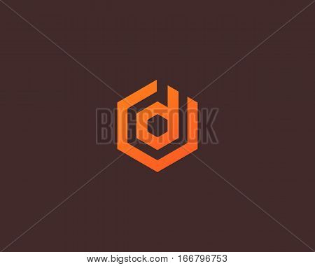 Abstract letter D vector logotype. Line hexagon creative simple logo design template. Universal geometric symbol font icon