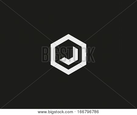 Abstract letter J vector logotype. Line hexagon creative simple logo design template. Universal geometric symbol font icon