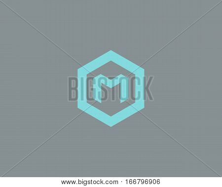 Abstract letter M vector logotype. Line hexagon creative simple logo design template. Universal geometric symbol font icon