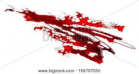 Bloodstain isolated on white background. Bloody splatter