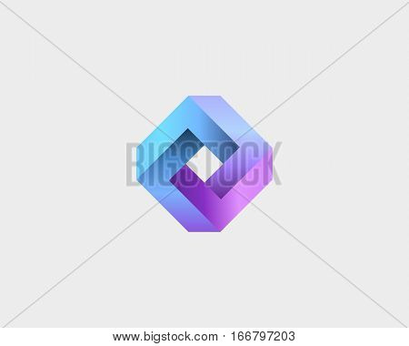 Abstract infinity cube logo design template. Abstract geometric gradient logotype. Universal rhomb vector icon symbol