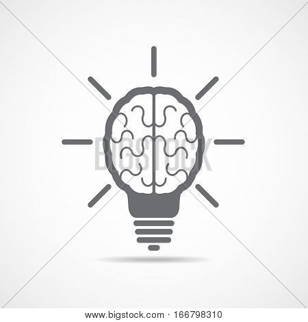 Abstract human brain icon. Vector illustration. Gray brain in the form of light bulb on light background