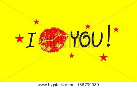 Banner with lettering I love you. Red imprint folded in kiss of lips. Love note. Vector illustration.