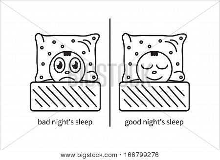 Cartoon line art man suffering from insomnia and sleep. Vector illustration.