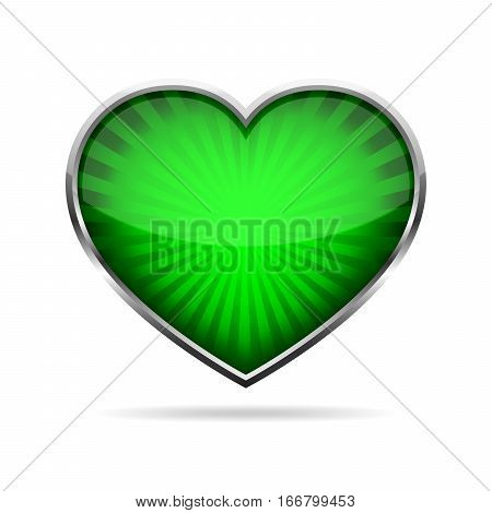 Abstract green heart button. Steel heart button on white background. Concept of the lowe. Vector illustration
