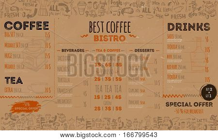 Vintage hipster bistro menu design on crafted paper background. Coffee restaurant.