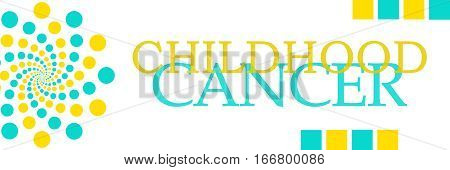 Childhood cancer text written over turquoise yellow background.