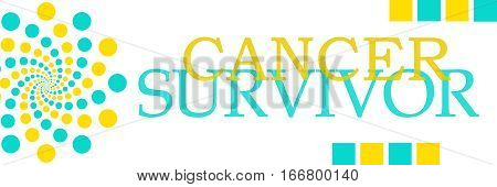 Cancer survivor text written over turquoise yellow background.