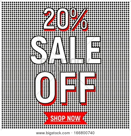 Sale poster 20% off with black dots shop now