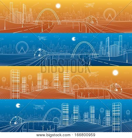 City and transport mega panorama. Highway. Train rides on the bridge, skyline, infrastructure landscape, day and night town, airplane fly, urban scene, vector design art