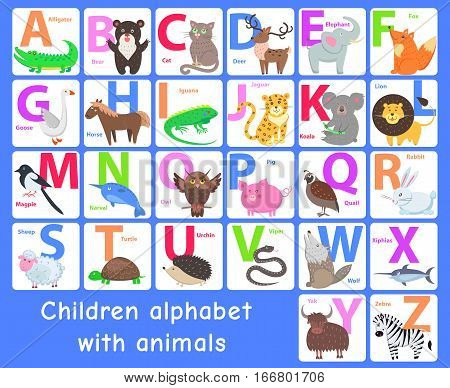 Children alphabet with animals. Letters A, B, C, D, E, F, G, H, I, J, K, L, M, N, O, P, Q, R, S T U V W X Y Z Alphabet learning chart with animals for letter animal name Vector zoo alphabet