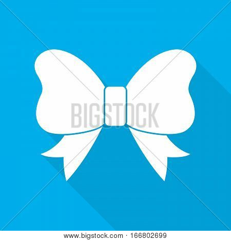 The bow icon. Simple white bow with long shadow on blue background. Bow in flat design. Vector illustration