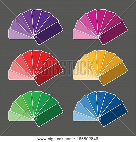 Set of six color palette - purple pink red yellow green nad blue flavor