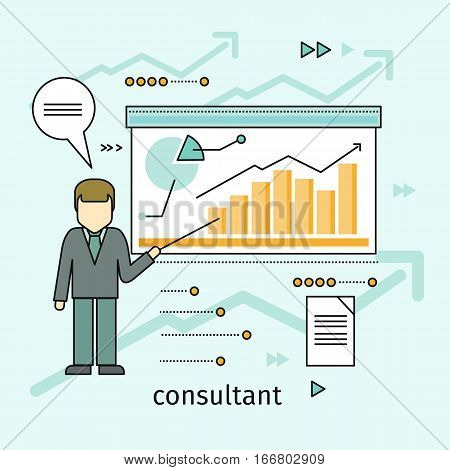 Business consultant concept vector. Flat design. Man standing with pointer near board with inhographics. Expert information support. Illustration for consulting company, career courses advertising